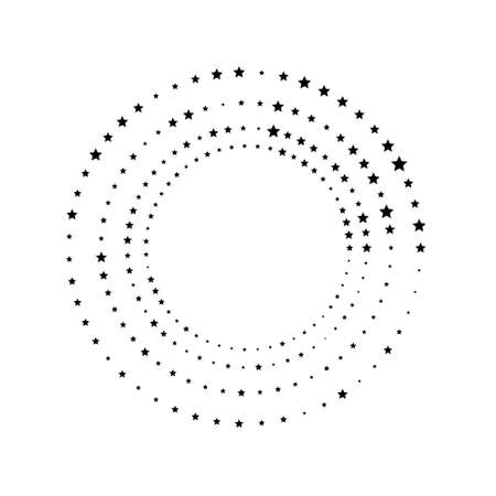 Random stars, halftone speckles concentric circle on white. Vector illustration 일러스트