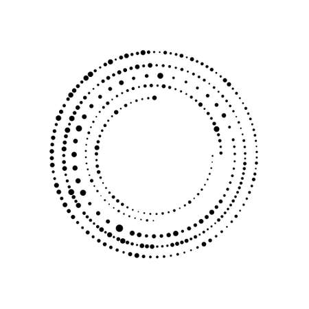 Random dotted, halftone speckles concentric circle on white. Vector illustration