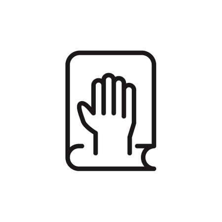 Line icon of hand on bible or constitution. Oath, pledge, witness. Court concept. vector