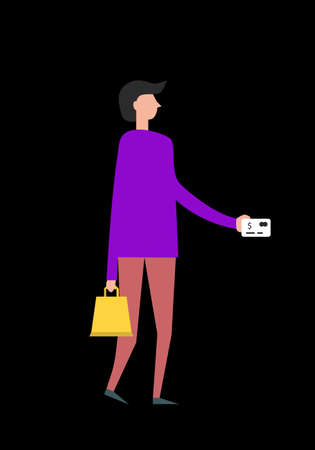 people online shopping in flat style on black background. Vector