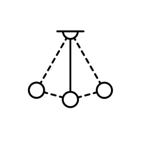 Simple pendulum vector line icon. Physics sign. Perpetuum mobile logo 向量圖像