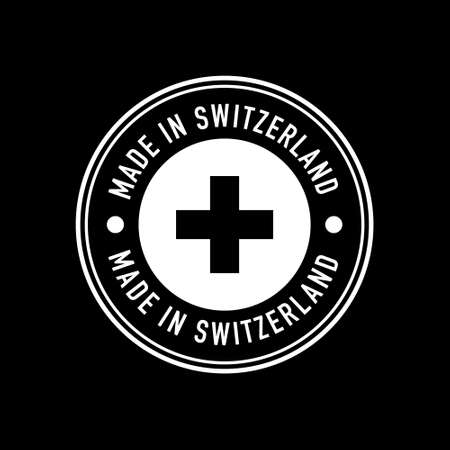 Made in Switzerland Stamp on black. Vector Illustration Sign.