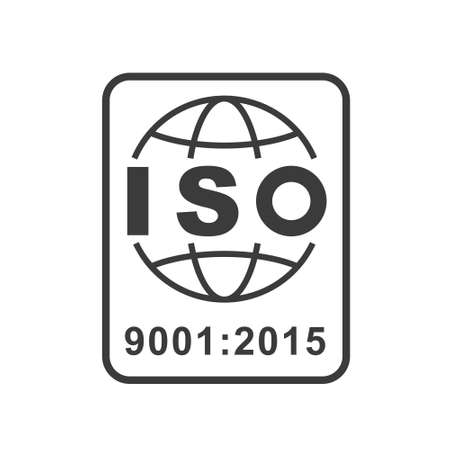 ISO 9001 certified symbol on white background. Stock vector