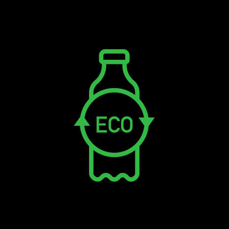 Recycle plastic bottle. Line vector. Isolate on black background.