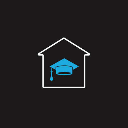 Graduation cap in home. vector icon on black. Education concept at home Vettoriali
