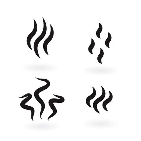 Smoke steam silhouette icon illustration isolated on white background Ilustrace