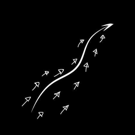 curve arrow leader with many small follower on chalkboard. Vector  イラスト・ベクター素材