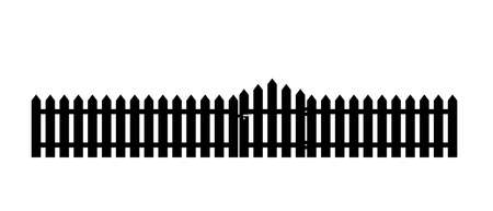 White wooden fence with garden gate in flat style. Stock vector illustration