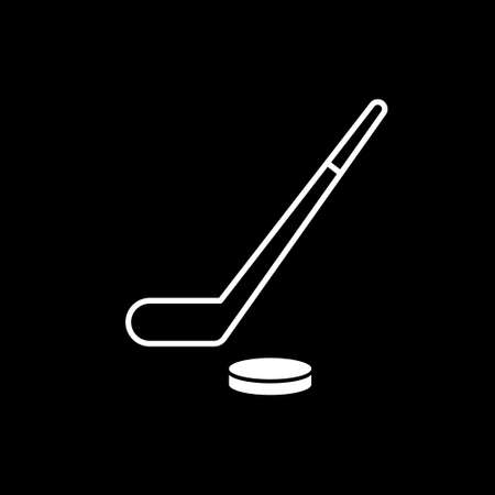 Hockey thin line icon. Hockey stick and washer symbol illustration isolated on black.