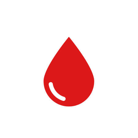Blood drop icon in flat style on white background. Stock vector