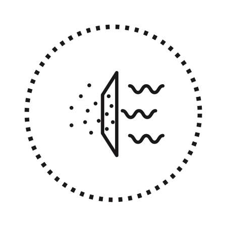 Air purifier. Air filter icon on white. Solid Particle Filter Иллюстрация