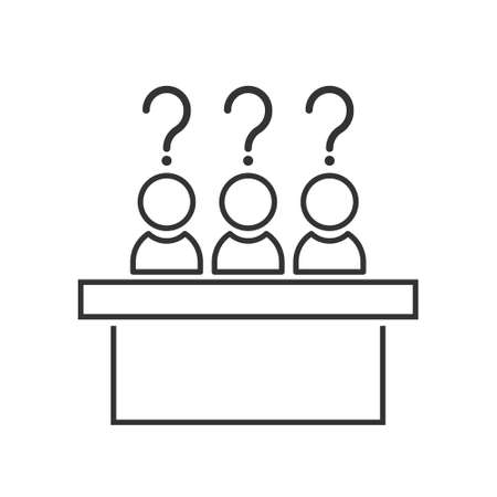 jury group committee icon, jurors linear sign on white background. Vector element for info graphic