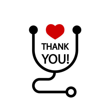 Thank you! Badge with heart and stethoscope icons. Flat vector illustration on white background.