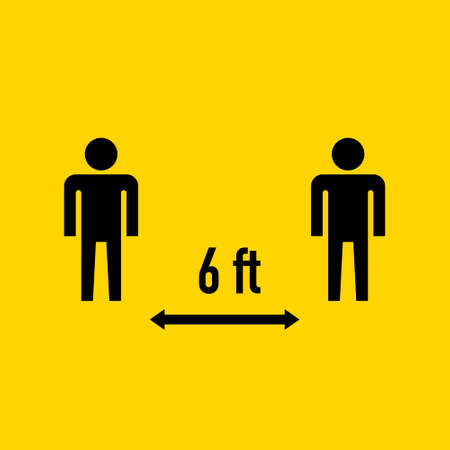 Social Distancing Keep Your Distance 6 Feet Icon. Vector Image. EPS 10
