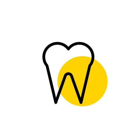 Dental logo in flat style on white. Vector element Illustration