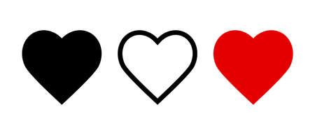 Like and Heart icon. Live stream video, chat, likes. Social nets like red heart web buttons isolated on white background. Valentines Day. Vector illustration. Illustration