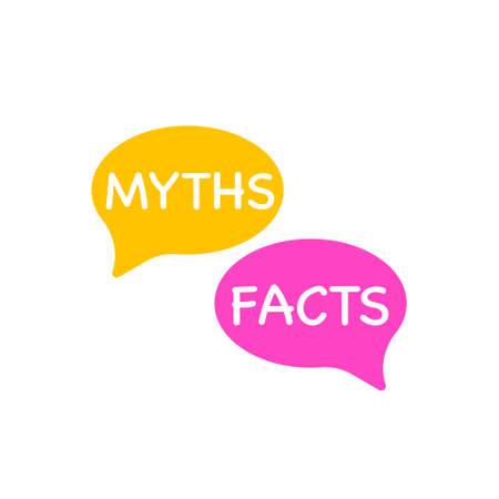 Myths facts. Vector lettering illustration on white background.
