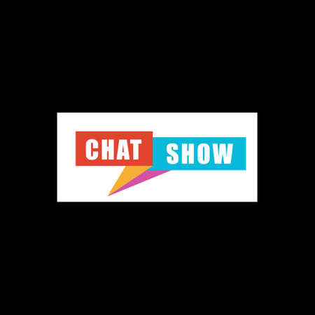Vector logo unit for CHAT SHOW. Vector icon on black