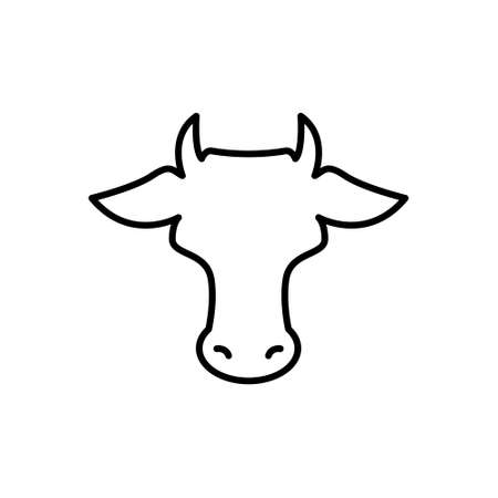 Cow head. line icon. Farm Animal. Beef, milk, lactose symbol. Vector illustration isolated on white
