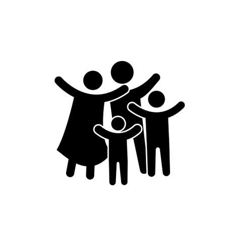 Family Flat Icon Black and White. Vector Graphic