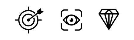 Mission vision values icon. Organization mission vision values icon design vector Illustration