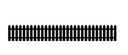White wooden fence with garden gate in flat style. Stock vector illustration Illustration