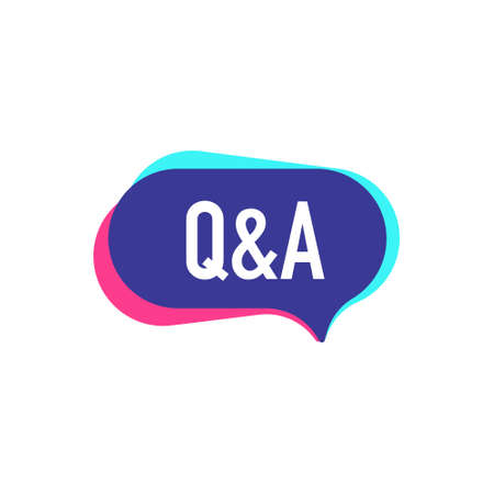 Q&A. Vector badge illustration in modern style on white background