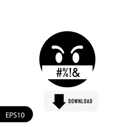 angry face. Isolated on white emoticon. Obscene language. Vector. EPS 10 Illustration