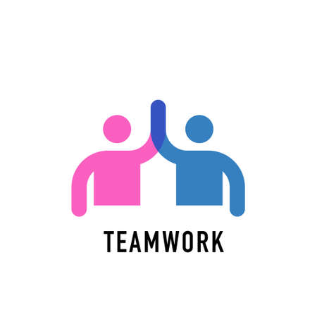 Teamwork concept logo. Team work icon on white background Illustration
