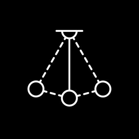 Simple pendulum vector line icon. Physics sign. Perpetuum mobile logo Illustration