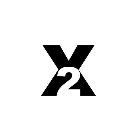 Initial letter and number logo X2, black negative space. Vector