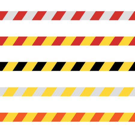 Vector isolated danger tape in simple flat style. Yellow and black line.