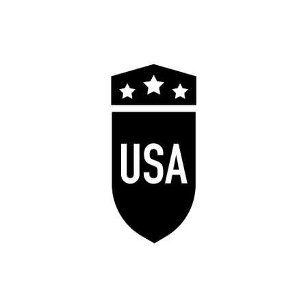 Shield USA icon on white background, logo design Illustration