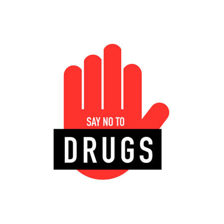 Say no to drugs lettering. No drugs allowed. Drugs icon in prohibition red circle. Anti drugs. Vector