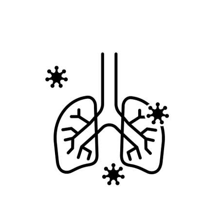Lungs flat line icon. Vector thin pictogram of human internal organ, outline illustration for pulmonary clinic. Covid. Virus