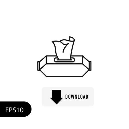 Wet wipes icon in line style on white background. Vector. EPS 10 Illustration