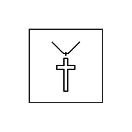 Jewelry Vector Flat Line Icons. Cross icon on white