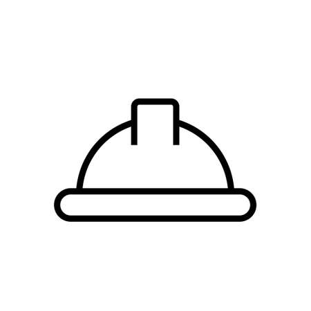 helmet vector thin line icon on white. Stock vector