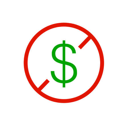 No Money Or Dollar sign on white background. Vector Illustration