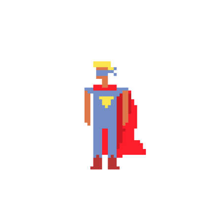 Flying superhero character pixel art flat style. Man in a raincoat. 8-bit. Embroidery design. Isolated vector illustration.