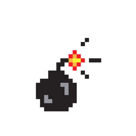 Black bomb pixel art, colorful vector illustration isolated on white background Illustration