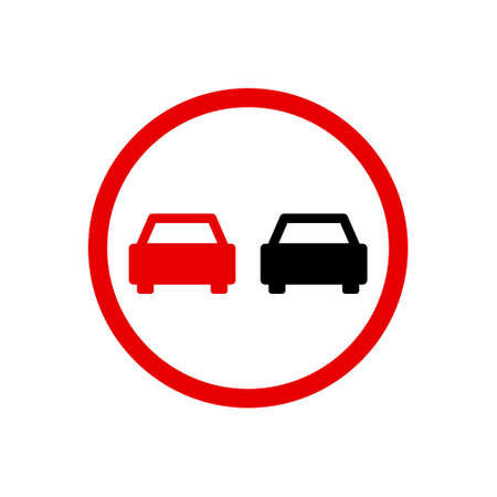Road sign used in Denmark - No overtaking. Vector sign