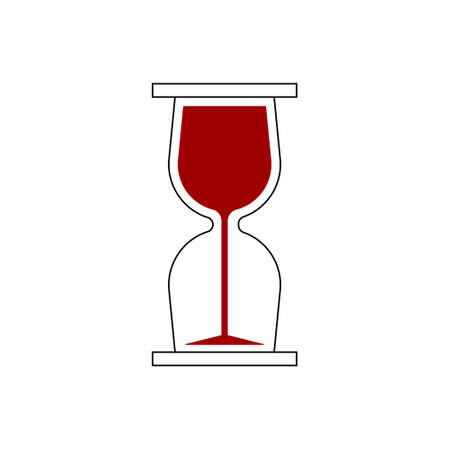 time to drink, wine glass inside hourglass, vector illustration icon.