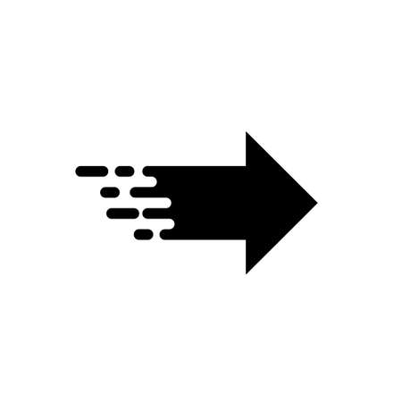 Right arrow icon with fast speed effect. Vector .Fast right arrow movement symbol on a white background. Illustration