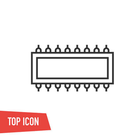 CPU. Flat vector web icon or sign on gray background with shadow. Collection modern trend concept design style illustration symbol