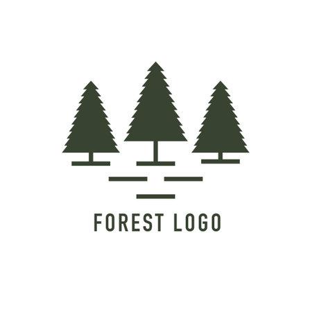 Rustic Retro Vintage Evergreen. Cedar trees logo design