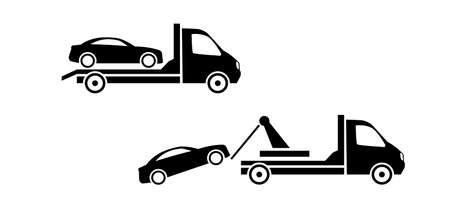 Car towing truck icon on white background. Stock icon