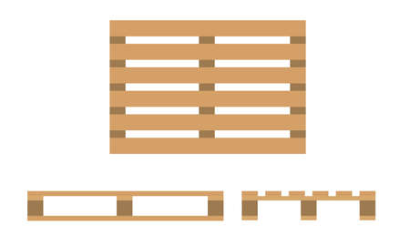 Wooden pallet. Flat design, top view, front and side view. Vector
