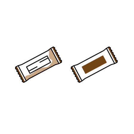 Set of Chocolate bar color icon. Protein snack package. Wrapped candy,