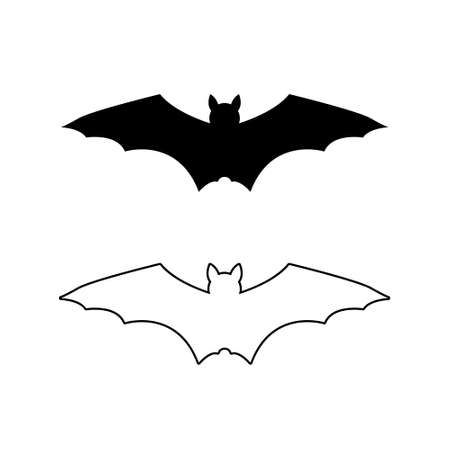 Set of Bat silhouette. Printable template. Bat icon isolated on white. Vector. Иллюстрация